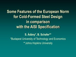 Some Features of the European Norm for Cold-Formed Steel Design ...