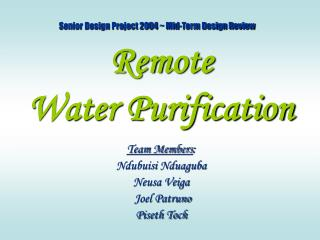 Remote  Water Purification