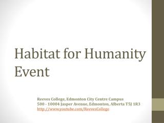 Habitat for Humanity Event in Edmonton Alberta Canada