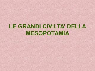 LE GRANDI CIVILTA  DELLA MESOPOTAMIA