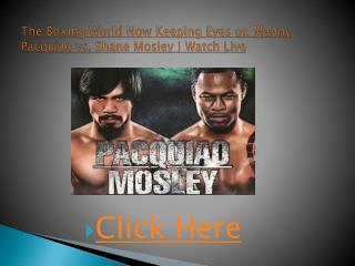 pacquiao vs. mosley live | watch the ring warriors in a figh