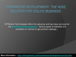 Ecommerce Development:The Wide Solution For Online Business