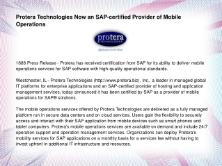 Protera Technologies Now an SAP-certified Provider of Mobile