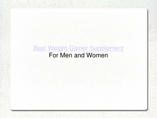 Best Weight Gainer Supplement