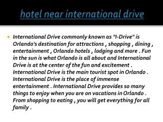 hotel near international drive