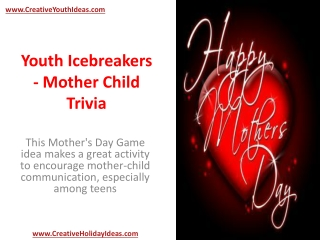 Youth Icebreakers - Mother Child Trivia