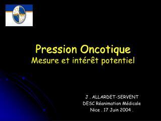 Pression Oncotique Mesure et int