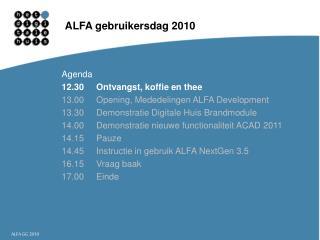 ALFA gebruikersdag 2010