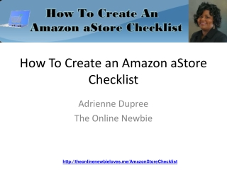 How To Create An Amazon aStore Free Checklist