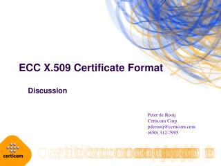 ECC X.509 Certificate Format