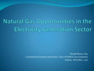 Natural Gas Opportunities in the Electricity Generation Sector