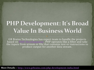 PHP Development: It's Broad Value In Business World