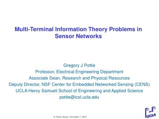 Multi-Terminal Information Theory Problems in Sensor Networks