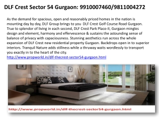 Dlf The Crest Dlf the Crest Gurgaon 9910007460 Dlf Crest  Dl