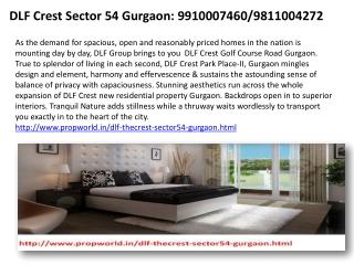 Dlf The Crest Dlf the Crest Gurgaon 9910007460 Dlf Crest  Dl