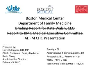 Boston Medical Center   Department of Family Medicine Briefing Report for Kate Walsh, CEO Report to BMC Medical Executiv