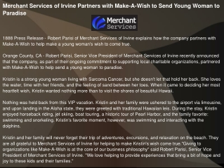 Merchant Services of Irvine Partners with Make-A-Wish
