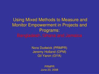 Using Mixed Methods to Measure and Monitor Empowerment in Projects ...