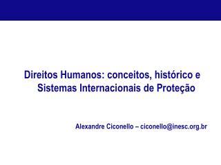 Direitos Humanos: conceitos, hist rico e Sistemas Internacionais de Prote  o