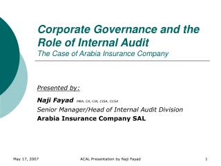 Corporate Governance and the Role of Internal Audit The Case of ...