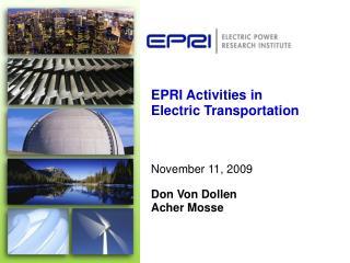 EPRI Activities in Electric Transportation