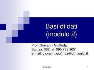 Basi di dati modulo 2