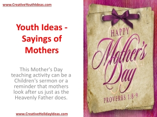 Youth Ideas - Sayings of Mothers