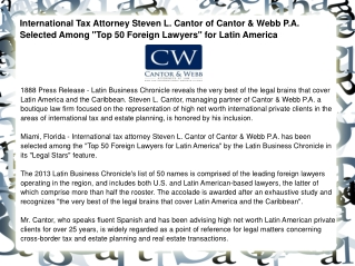 International Tax Attorney Steven L. Cantor of Cantor
