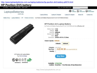HP Pavilion DV5 Laptop and HP Pavilion DV5 Battery