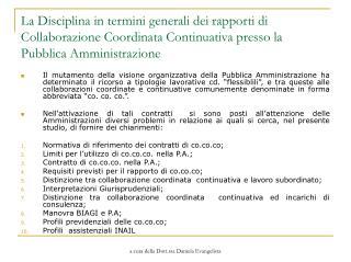 La Disciplina in termini generali dei rapporti di Collaborazione ...