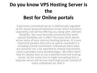 Do you know VPS Hosting Server is the Best for Online portal