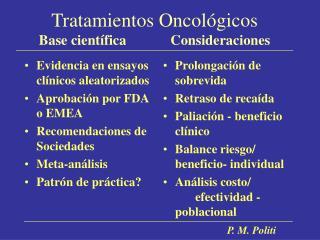 Tratamientos Oncol gicos Base cient fica             Consideraciones
