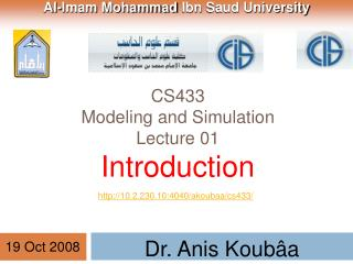 CS433 Modeling and Simulation Lecture 01 Introduction