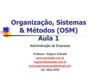 Organiza  o, Sistemas  M todos OSM Aula 1