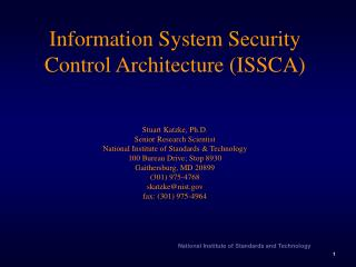 Information System Security Control Architecture ISSCA Stuart