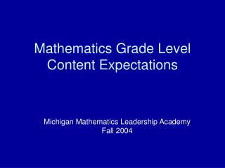 Mathematics Grade Level Content Expectations