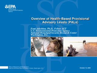 Overview of Health-Based Provisional Advisory Levels PALs