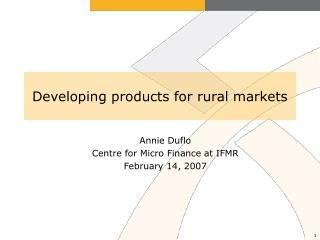Developing products for rural markets