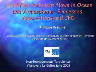 Stratified turbulent flows in Ocean and Atmosphere : Processes, observations and CFD