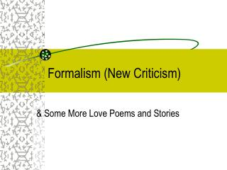 Formalism New Criticism