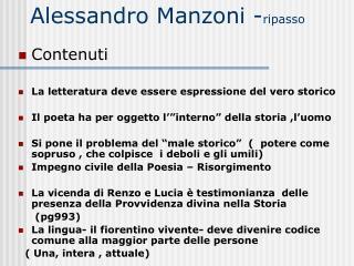 Alessandro Manzoni - ripasso