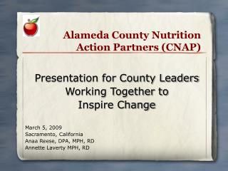 Alameda County Nutrition Action Partners CNAP