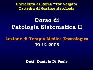 Corso di  Patologia Sistematica II
