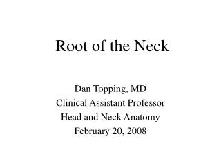 Root of the Neck