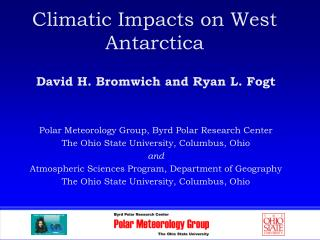 Climatic Impacts on West Antarctica