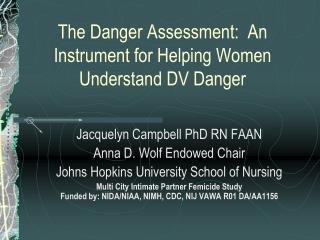 The Danger Assessment: An Instrument for Helping Women Understand ...