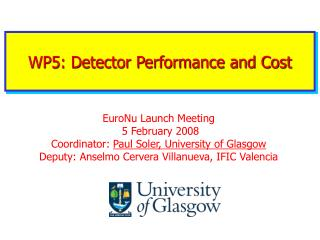 WP5: Detector Performance and Cost