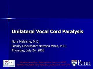 Unilateral Vocal Cord Paralysis