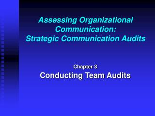 Assessing Organizational Communication: Strategic Communication ...