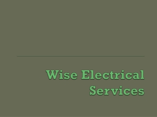 Wise Electrical Services Contractors in Perth